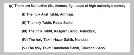 Takhats - SRM definition