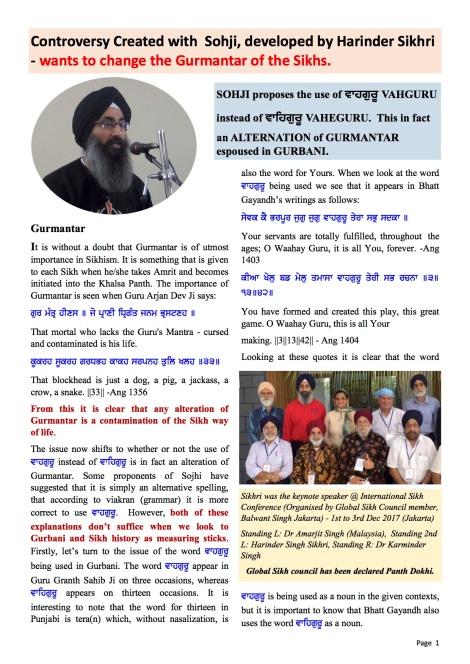 180320 Concerns SOJHI SikhRI Harjinder VAHEGURU PIC